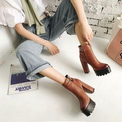 JY Shoes - Block-Heel Platform Ankle Boots