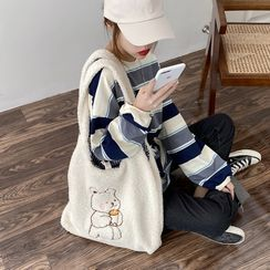 TangTangBags(タンタンバッグズ) - Bear Embroidered Canvas Tote Bag