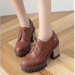Freesia(フリージア) - Platform Block Heel Lace Ups