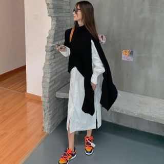 Guajillo - Asymmetric Knit Top / Long-Sleeve Plain Shirt Dress