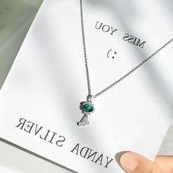 Hansha - 925纯银水钻猫吊坠项链