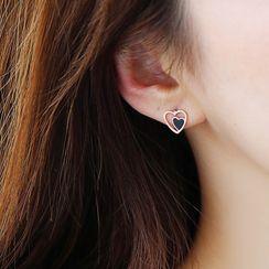Agape - Alloy Heart Earring / Pendant Necklace / Set