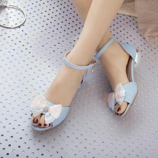 佳美 - 蝴蝶结踝带粗跟凉鞋