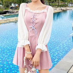 Kansen - 喇叭袖繫帶雙色連衣泳裙