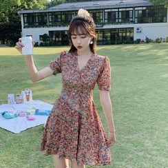 Luminato - Short-Sleeve Floral Print A-Line Mini Dress