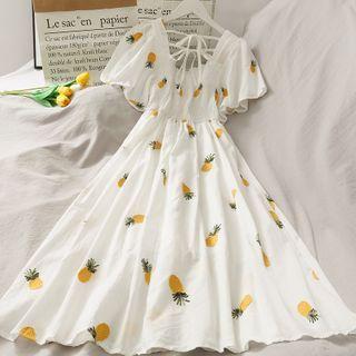 Lemongrass - Embroidered Smocked Midi Dress