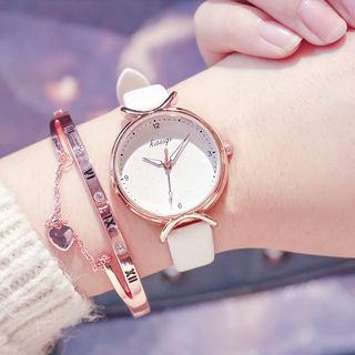 InShop Watches - Set: Genuine Leather Strap Watch + Roman Numeral Bangle