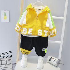 Mini Bae - 套装: 小童字母连帽拉链外套 + 慢跑裤