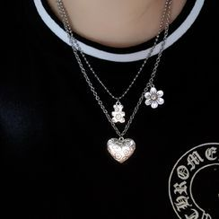 Porstina - 花朵及心心吊坠项链/熊吊坠链条项链/套装