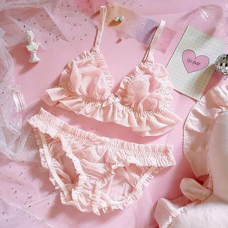 Prinsis - Set: Ruffle Trim  Bralette + Panties