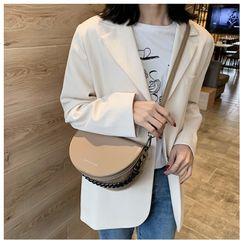 Nautilus Bags - Faux Leather Chain Strap Saddle Crossbody Bag