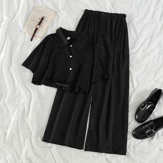 PUYE - 短袖短款衬衫 / 宽腿长裤