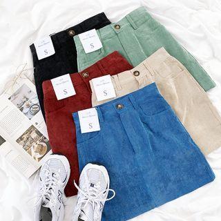CaraMelody - Corduroy A-Line Mini Skirt