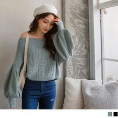 OrangeBear - Off-Shoulder Puff Sleeve Cable Knit Top