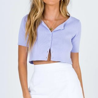 Osion - Short-Sleeve Plain Cropped Cardigan