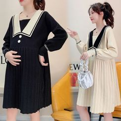 Owaho - Maternity Collared Knit Dress