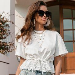 Simplee - Short-Sleeve Lace Panel Peplum T-Shirt