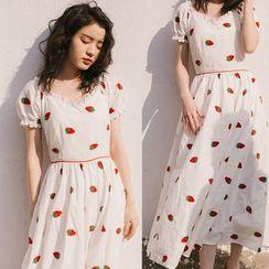 Alberlino - Short-Sleeve Fruit Embroidery A-Line Midi Dress
