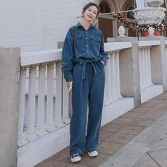 Jinyo - Long-Sleeve Corduroy Jumpsuit