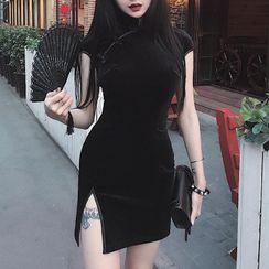 Solvor - 盖袖丝绒短款旗袍连衣裙