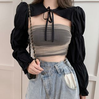 Melon Juice - Puff-Sleeve Cropped Top / Mesh Strapless Cropped Top