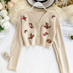 Lucuna - Floral  Embroidered Cropped Cardigan