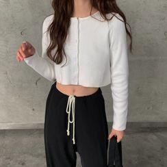 Caocaosuit - 長袖鈕扣針織上衣 / 寬腿褲