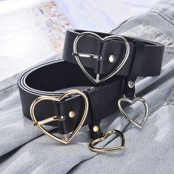 Luminarie - Faux Leather Heart Buckle Belt