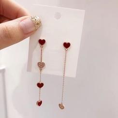 True Glam - Non-Matching Heart Rhinestone Heart Dangle Earrings