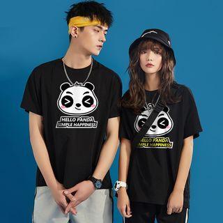 D-SEVEN - Couple Matching Short-Sleeve Panda Print T-Shirt