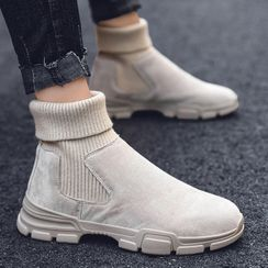 Chaoqi - Knit Panel Short Boots