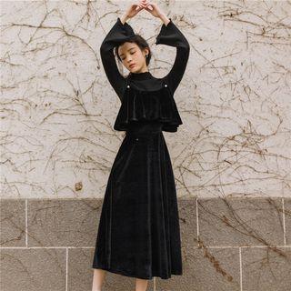 Nebbia - Set: Mock Turtleneck Knit Top + Spaghetti Strap Velvet Midi A-Line Dress