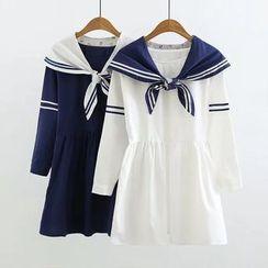 白金天使 - 水手領領結帶A字連衣中裙