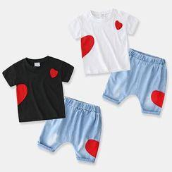 贝壳童装 - 童装套装: 短袖心心印花T裇 + 牛仔裤