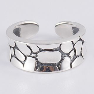 CHOSI - 925 Sterling Silver Embossed Crack Open Ring