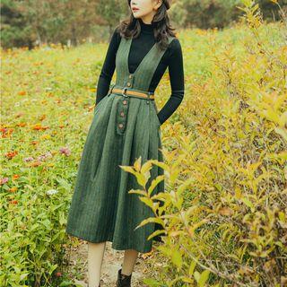 Nebbia - Set: Mock-Neck Knit Top + V-Neck Striped Belted  Pinafore Dress