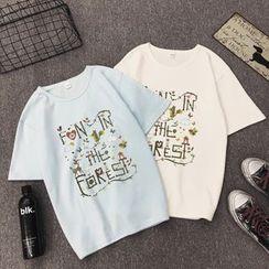 Carmenta - Short-Sleeve Letter T-Shirt