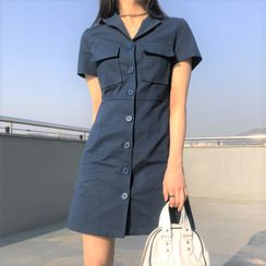 HW Studio - Short-Sleeve Mini A-Line Cargo Shirt Dress