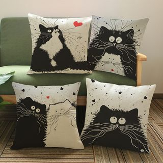 Cozy Cushion Cat Print Sofa Cushion Cover Yesstyle