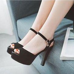 Comof - Faux Suede Peep Toe High Heel Sandals