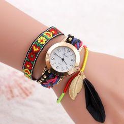 MODIYA - 羽毛編織多層帶式手錶
