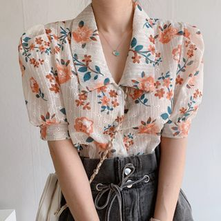 Coris - Floral Print Elbow-Sleeve Blouse