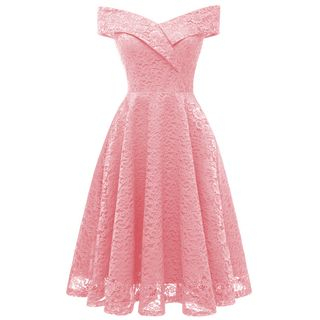 Scentwood - Off-Shoulder Lace A-Line Dress