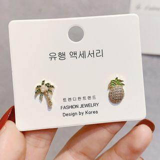 LIVSIA - 不對稱水鑽菠蘿及樹木耳環