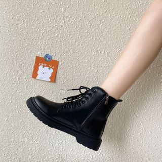 Snowflick - Platform Block Heel Lace Up Short Boots