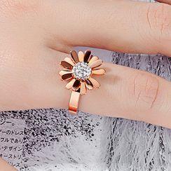 Tenri - Rhinestone Stainless Steel Flower Ring