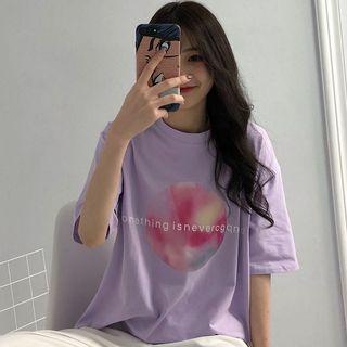 Chogen - Elbow-Sleeve Moon Print T-Shirt