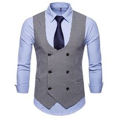 Peibo - Houndstooth Double-Breasted Vest