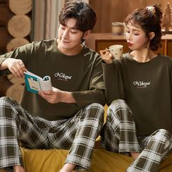 Jeony(ジェオニー) - Couple Matching Loungewear Set : Long-Sleeve Lettering Top + Pants