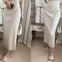 NANING9 - Linen Blend H-Line Maxi Skirt